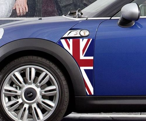 A Panel Mini Cooper R56 Union Jack UK flag fender graphic decal sticker