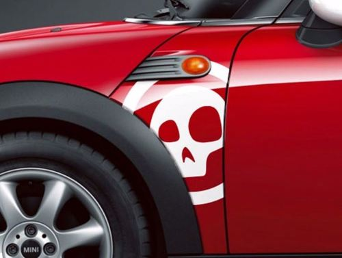BMW Mini Cooper R55 R56 R57 A Panel Skull Decal Stiker Graphics