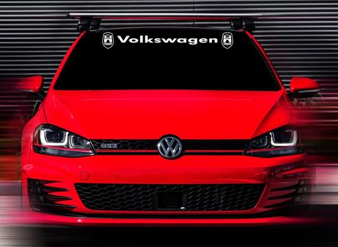 48 x4.5  New Volkswagen GTI Wolfsburg White Custom Windshield Decal Sticker