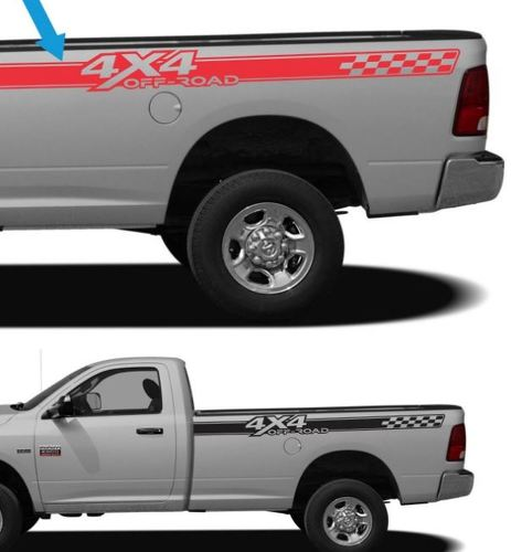 2 DODGE RAM 4x4 OFF ROAD TRUCK Vinyl Decal (Set) for RAM 1500 2500HD 3500HD