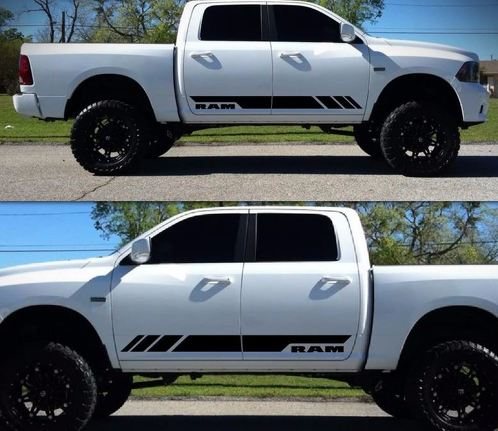 Side Stripe Decal Sticker Kit for Dodge Ram Door Fender Flare Handle 2009-2017