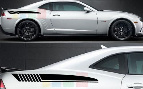 Sticker Decal kit for Chevrolet Camaro rear side stripes flare wing fender 2014