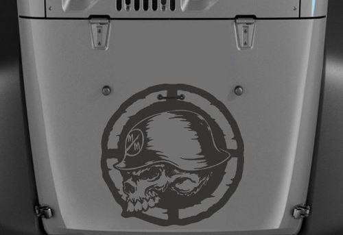 Jeep Wrangler Decals Destressed Metal Mulisha Vinyl Hood Decal 20  x 20  H196