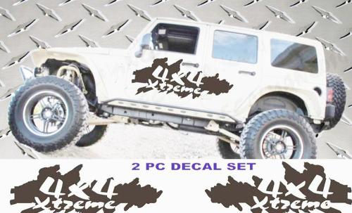 Jeep Wrangler Xtreme 4X4 vinyl decals JK JKU 07-16 4 door model 2 piece set