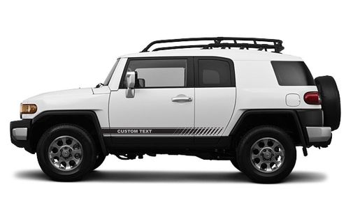 CUSTOM TEXT Toyota FJ Cruiser Decal Vinyl Angled Side Door Racing Stripe Graphic