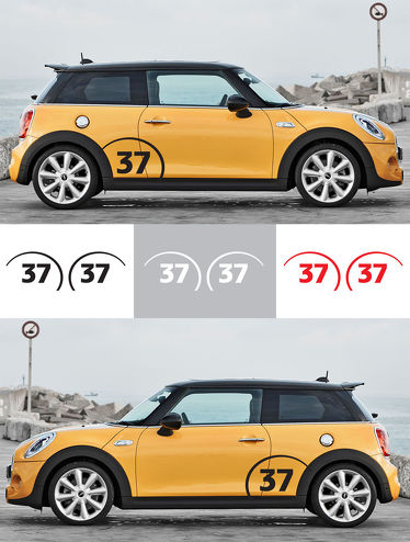 2pcs RACING CUSTOM NUMBER Vinyl Fender Decal Graphic Mini Cooper S JCW