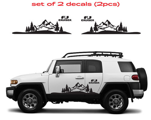 TOYOTA FJ CRUISER Mountain Decal Vinyl Side Door Graphics  10