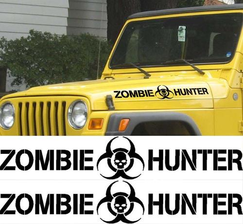 SET ZOMBIE HUNTER DECALS FOR WRANGLER RUBICON SAHARA TJ HOOD STICKERS JEEP 2