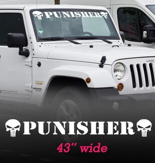 Punisher Windshield Vinyl Decal Sticker for WRANGLER RUBICON SAHARA JK TJ RAM