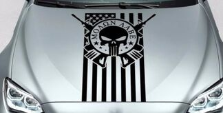 PUNISHER Schädel MOLON LABE US Kapuze Seite Vinyl Aufkleber Aufkleber passt Wrangler BMW usw.