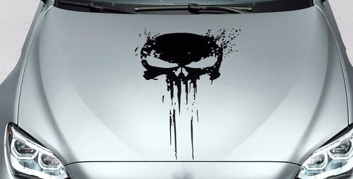 PUNISHER skull BLOOD hood side vinyl decal sticker for car track wrangler fj etc
