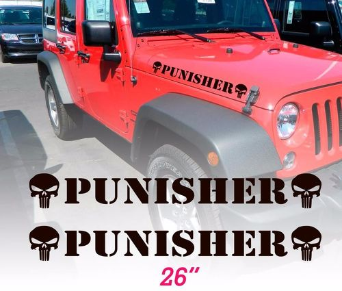 Set of 2 Punisher skull Hood Vinyl Decals Stickers for WRANGLER RUBICON SAHARA