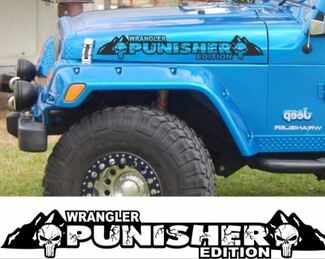 The Punisher Edition Version 2 Hood Decals. Custom set for Jeep wrangler hoods