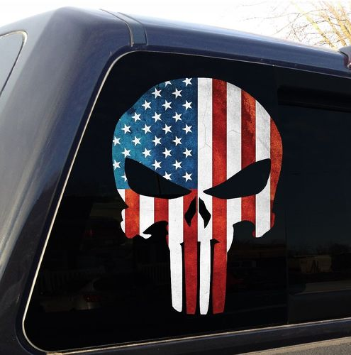 Punisher Skull American Flag Military Decal Sticker Graphic