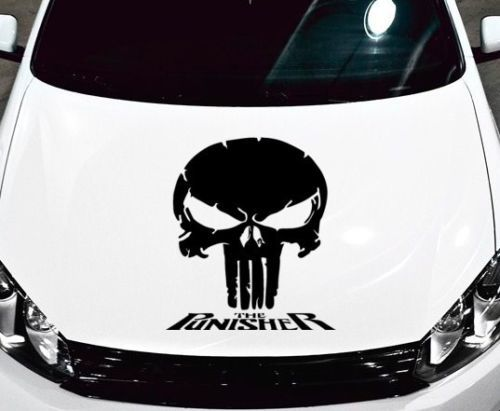 PUNISHER SKULL - WORDS VINYL DECAL HOOD SIDE FOR CAR TRUCK