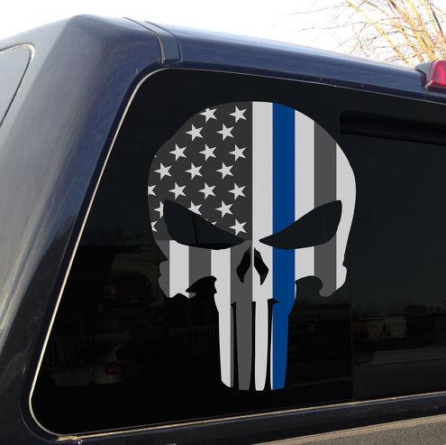 Punisher Schädel Polizei dünne blaue Linie amerikanische Flagge Aufkleber Aufkleber Grafik