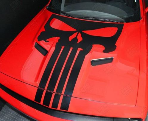 Dodge Challenger 2015-2016 Punisher Skull Hood Stripe Decal (Choose Color)