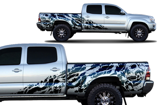 Toyota Tacoma 2005-2018 Long Bed Custom Half Side Decal Truck Wrap - NIGHTMARE