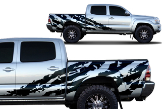 Toyota Tacoma 2005-2018 Short Bed Custom Half Side Decal Truck Wrap - SHRED