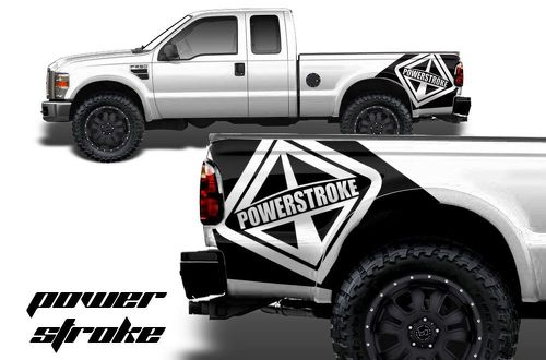 Ford F-250-F-350 Vinyl Graphics Fender Bed Art POWER STROKE
