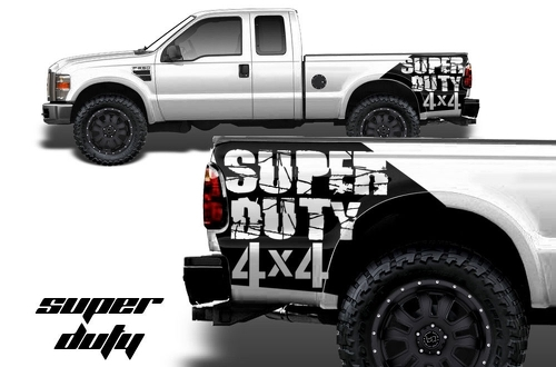 Ford F-250 - F-350 Vinyl Graphics Fender Bed Art SUPER DUTY 4x4