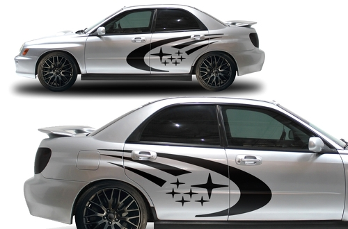 Subaru Impreza STI WRX Custom Vinyl Decal Wrap Kit STARS logo