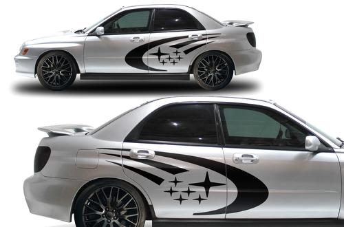 Subaru Impreza STI WRX Custom Vinyl Aufkleber Wrap Kit STARS Logo