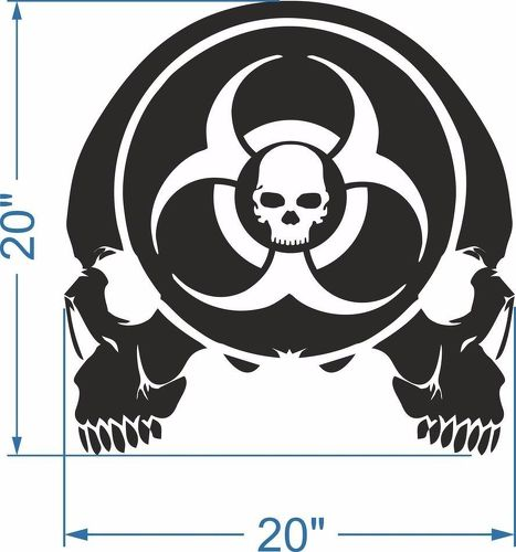 Skulls Zombie Hood Door Trunk Vinyl Sticker Decal fits Wrangler