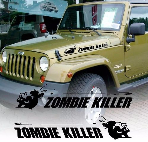 ZOMBIE KILLER flying bullet hood vinyl decal sticker (fits to wrangler rubicon)