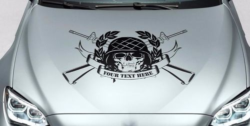 Skull your text honor hood vinyl decal sticker for car track wrangler fj etc