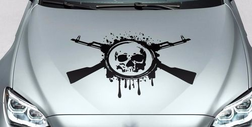 Skull blood guns hood side vinyl decal sticker for car track wrangler fj etc