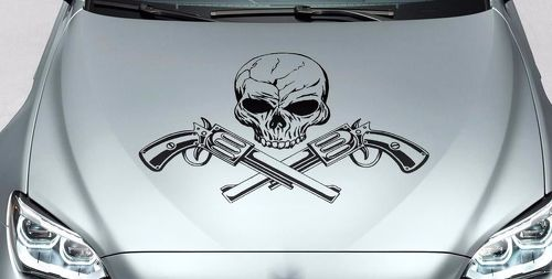 Skull and guns hood side vinyl decal sticker for car track wrangler fj etc
