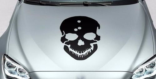 Skull bullet holes hood side vinyl decal sticker for car track wrangler fj etc