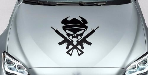 Skull Monster and guns hood vinyl decal sticker for car track wrangler fj etc