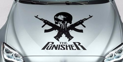 PUNISHER skull - words GUN hood side vinyl decal sticker for car track suv