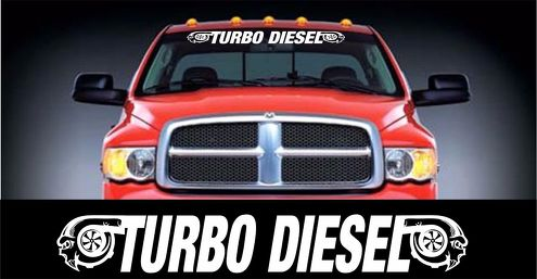 Turbo Diesel style windshield banner decal sticker 5 X 48