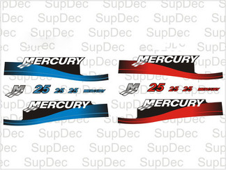 Mercury 25 outboard motor cowl boat decals graphics