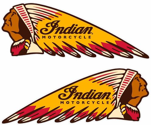 INDIAN WAR BONNET MOTORCYCLES VINYL DECAL - 8.5 x 3.5 - SET OF 2