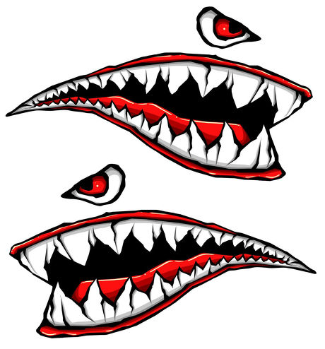 Motorcycle Side Gas Tank Fighter Teeth Decals Vinyl Stickers