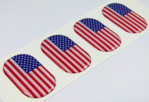 USA midi domed decals American flag 4 emblems Car bike laptop stickers