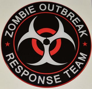 Premium  Zombie Outbreak  Gloss Dome Decal - Car Truck Window or Bumper Sticker