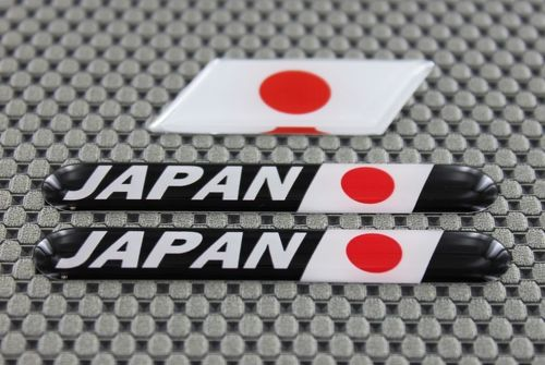 Japan Flag 3D Decal Sticker Dome 3 Pcs Set Motorcycle ATV Cars