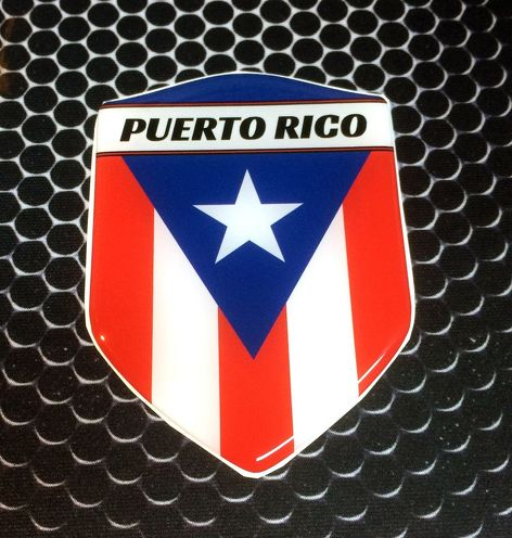 Puerto Rico Proud Shield Flag Domed Decal Emblem Car Sticker 3D 2.3 x 3.3