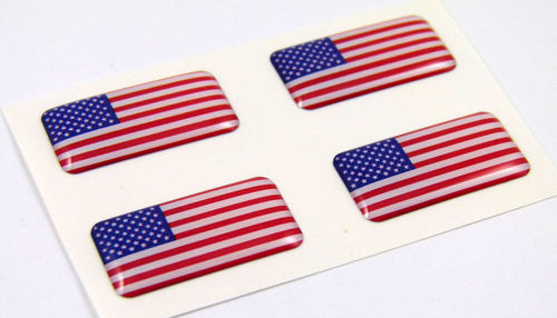 USA American mini domed Flag decals 4 emblems Car auto bike boat  stickers