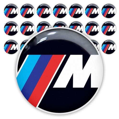 21pc BMW M Power Performance 25mm 3d domed sticker decal emblems