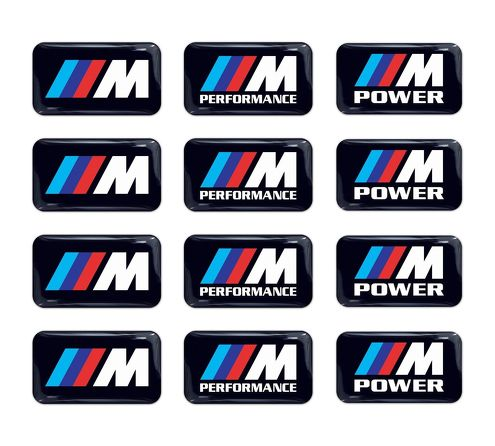 12pc BMW M Power Performance 3d domed sticker decal emblem wheel key fob