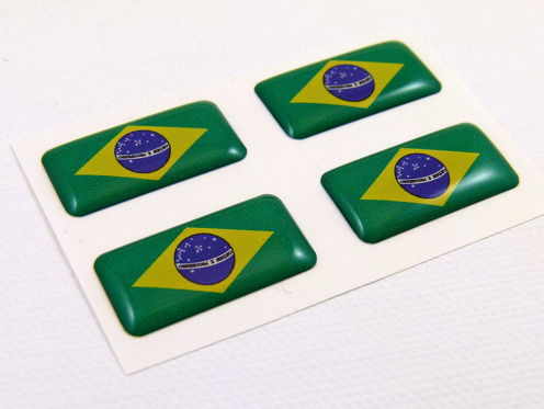 Brazil mini domed Flag decals 4 emblems Car auto bike boat  stickers