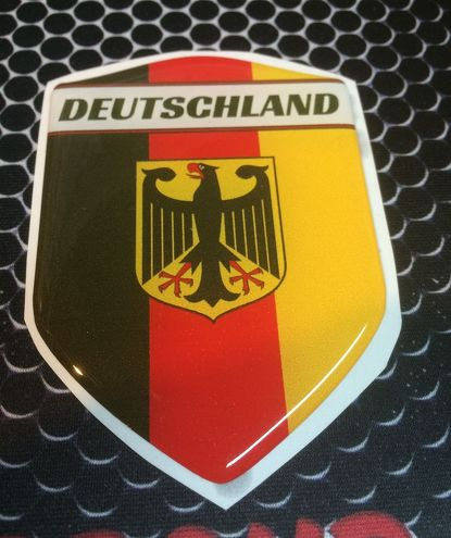 Germany Deutschland Proud Shield Domed Decal Emblem Car Sticker 3D 2.3 x 3.3