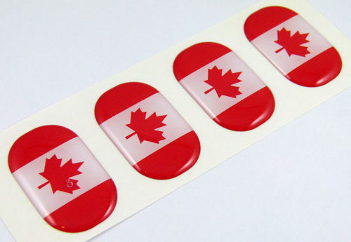 Canada midi domed decals flag 4 emblems 1.5 x1  Car bike laptop phone stickers