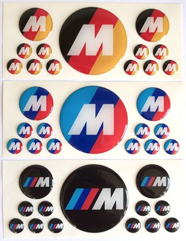 39 pc BMW M Power Performance 3d domed sticker decal emblems